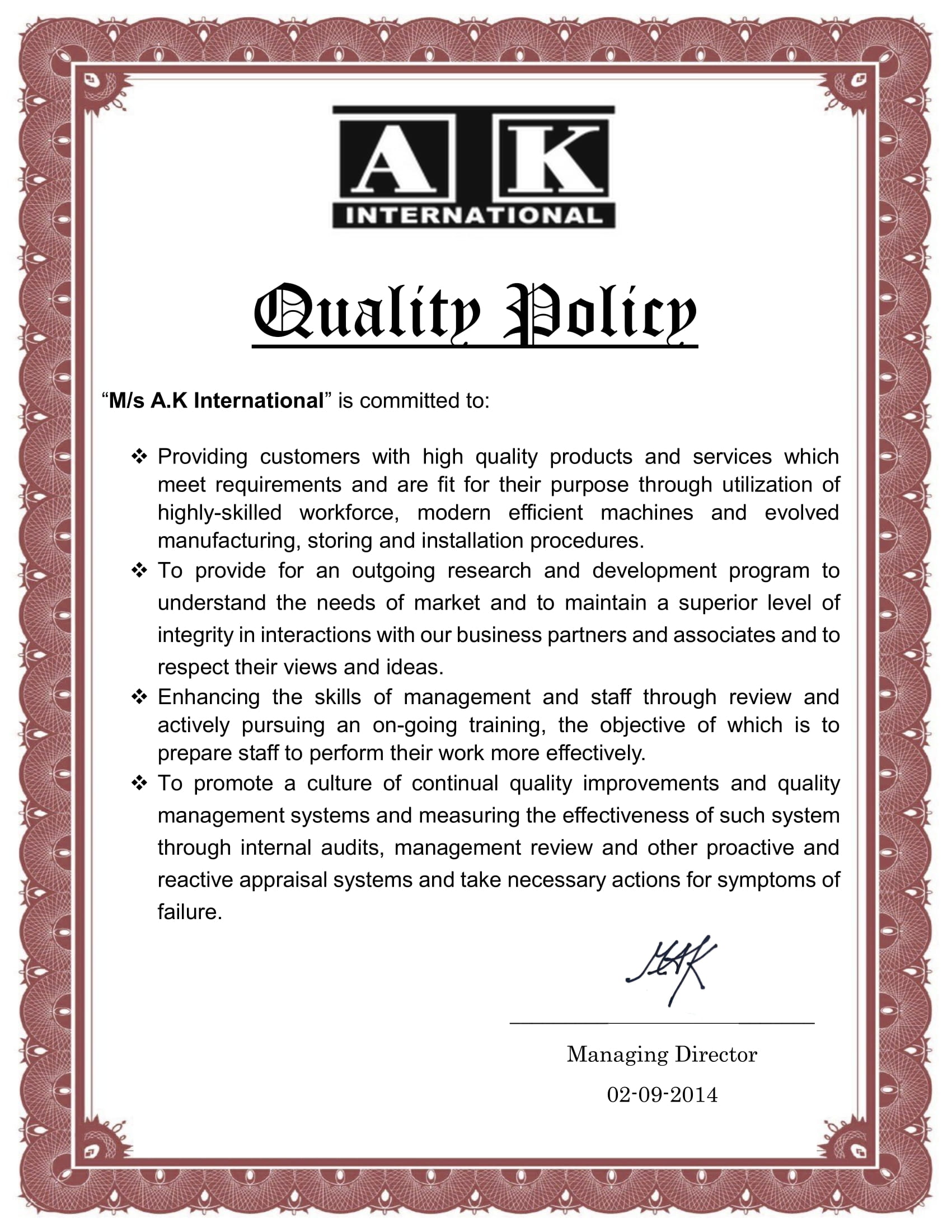 quality policy aki-1